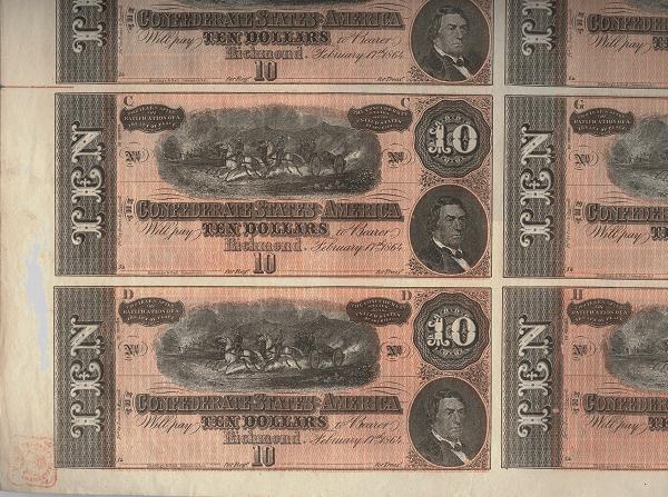 10 Dolares Estados Confederados de America, 1864   T-68c_UNCUT-CONFEDERATE-SHEET_950